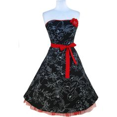 Ruby Rox Black STRAPLESS Floral Party SWING Dress S M RED Tulle Rockabilly PINUP found on Polyvore featuring polyvore, fashion, clothing, dresses, rockabilly swing dress, black strapless cocktail dress, black cocktail dresses, black party dresses and red cocktail dress