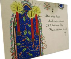 Elegant and Colorful Edwardian Era Christmas Card With Beautiful Stained Glass Window With Amazing Red Candles by StructureandSpice on Etsy