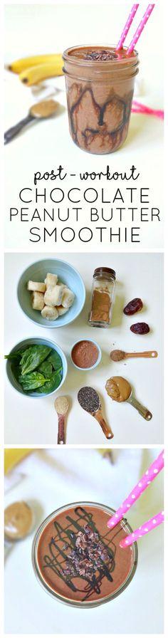 Healthy Smoothies Recipe Post-Workout Chocolate Peanut Butter Smoothie - vegan, super healthy and will keep you feeling full, energized and balanced for hours! From The Glowing Fridge Yummy Drinks, Healthy Drinks, Yummy Food, Healthy Recipes, Healthy Fridge, Peanut Recipes, Smoothie Drinks, Smoothie Recipes, Smoothie Detox