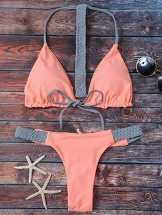 String Knitted Bikini Set - Orangepink - Orangepink S Cute Swimsuits, Cute Bikinis, Summer Bikinis, Bikini Beach, Bikini Set, Zaful Bikinis, Cute Bathing Suits, Swimming Costume, Bra Styles