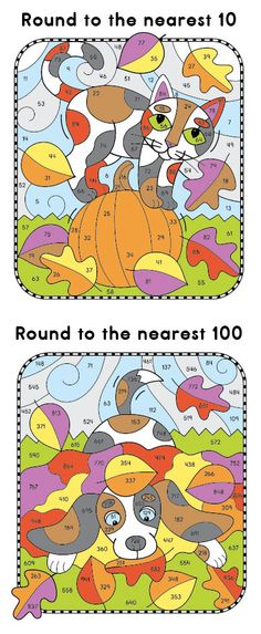 Color-by-Rounding Fall Fun pictures for understanding place value. The kitty on the pumpkin has clues that require rounding to the nearest 10 and the puppy playing in the autumn leaves is for rounding to the nearest 100. #math $