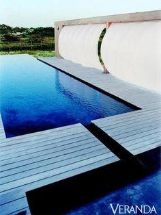 Fun fact: Black pool walls give this water its navy hue.