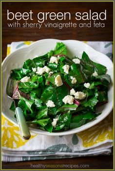 Beet Green Salad with Sherry Vinaigrette and Feta and What to do with Beet Greens on healthyseasonalrecipes.com