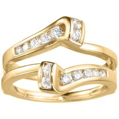 14k Gold 1/3ct TDW Diamond Classic Bypass Twist-style Jacket Ring Guard (G-H, SI2-I1) (14k Yellow Gold, Size 4.50), Women's, Size: 4.5
