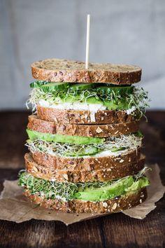 Avocado, cucumber, goat cheese sandwich recipe... YUM!