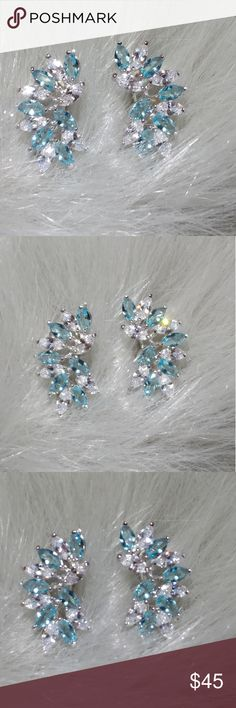 Earrings Gorgeous and elegant 925 sterling silver aquamarine and white sapphire light blue earrings Jewelry Earrings