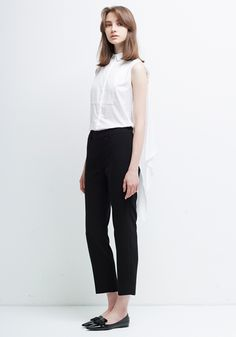 Le Ciel Bleu Back Ruffle Shirt and Georgette Tapered Pants