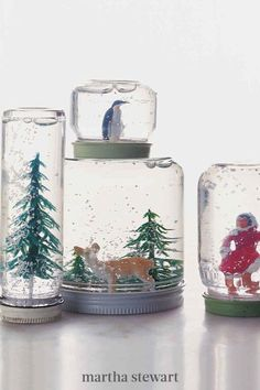 The perfect mason jar holiday craft for winter break, make this DIY with your kids for a fun-filled afternoon. #marthastewart #crafts #diyideas #easycrafts #tutorials #hobby Snow Globe For Kids, Kids Globe, Diy Snow Globe, Christmas Snow Globes, Christmas Craft Projects, Easy Christmas Crafts, Simple Christmas, Christmas Decorations, Handmade Christmas
