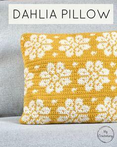 Dahlia Pillow - free crochet pattern with chart at My Crochetory