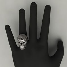 Mexican Catrina Skull Silver Ring by ArteJoyasJewellery on Etsy
