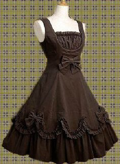 Chocolate Sleeveless Cotton Girls Classic Lolita Dress