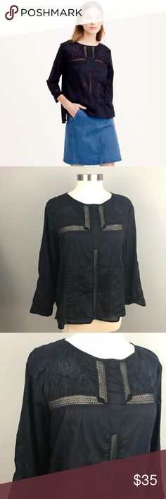 J.Crew Embroidered Lace Top Navy Cotton Peasant 12 J.Crew Embroidered Lace Top Navy Cotton Peasant 12  - Peasant embroidered top with lace - Cotton - 3/4 Sleeve - Back keyhole with button closure - Good condition J.Crew Tops Blouses