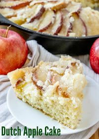 This dutch apple cake recipe has been in my family for generations. It is a simple cake topped with apples and plenty of golden topping. It is great as a coffee cake at breakfast, for an afternoon treat or as a simple dessert. You can take it straight from my great-great grandma's recipe box and put it into yours! Apple Cake Recipes, Apple Desserts, Best Dessert Recipes, Easy Desserts, Delicious Desserts, Sweet Desserts, Cupcake Recipes, Simple Dessert, Dessert For Dinner