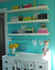 Thinking of adding shelves above my desk for craft supplies...