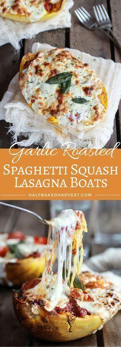 Garlic Roasted Spaghetti Squash Lasagna Boats | halfbakedharvest.com @hbharvest