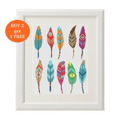 Feather Cross stitch pattern modern Cross by AnimalsCrossStitch