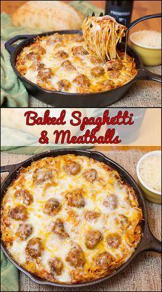 Baked Spaghetti & Meatballs  www.joyineverysea...