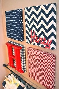 Wall art canvas with letters; use the teal chevron I already have - plus get a yellow & pink to tie everything together