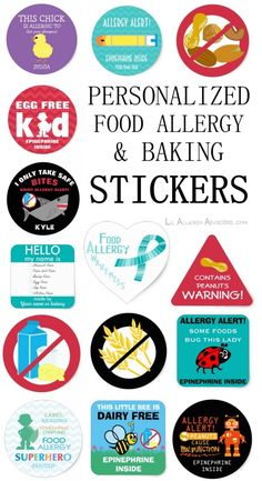 Personalized allergy alert stickers to attach to medicine kits or to wear. Baking warning labels for allergy friendly kitchens. www.lilallergyadvocates.com