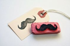 Easy crafts DIY Gift tag stamps...hmm...i really want tiny letter ones on this colored paper. drool. ew, no, not to the mustache. eugch.