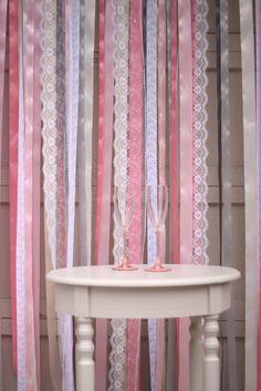 DIY Ribbon & Lace Backdrop - Serendipity Corner