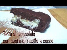Torta al cioccolato con cuore di ricotta e cocco - YouTube