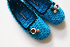 Crochet Slippers with Vintage Buttons for Women