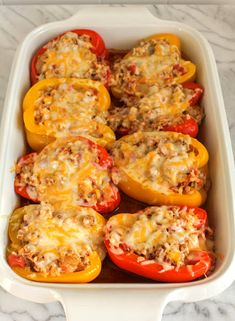 Mexican Stuffed Peppers are a tasty rift on traditional stuffed peppers, with a boost of Mexican spices and flavors. They are a delicious make ahead weeknight meal! #WeekdaySupper