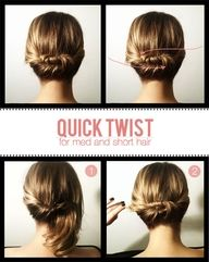 Cool like one! Quick Romantic updo for short to medium length hair. Nice for a casual wedding, work or a date! Easy diy hairstyle.