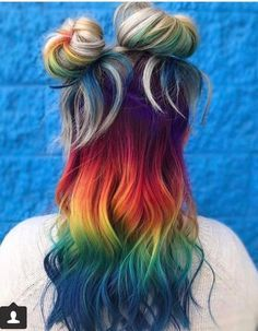 Rainbow hair with two side buns and blonde roots #hair #haircolor #rainbow
