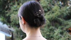 Pearl hair comb bride hair fork tiara rustic diadem by Kapelika