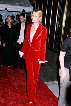 in Tom Ford for Gucci (96). In her Brad Pitt days. Love the classic Gucci suit.