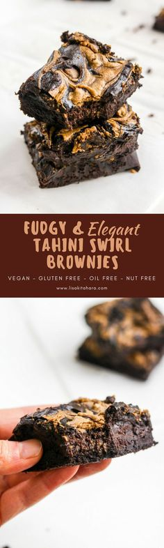 Vegan Tahini Swirl Brownies