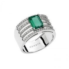 Anello in oro bianco con diamanti e smeraldo #CometeGioielli ANB 1903