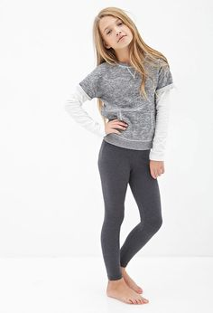 Girls Classic Heathered Knit Leggings (Kids)