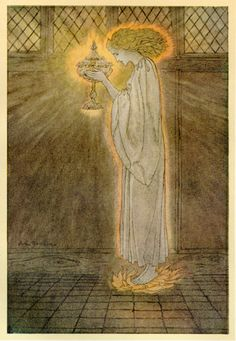 """Art by Arthur Rackman""""How at the Castle of Corbin a Maiden Bare in the Sangreal and Foretold the Achievements of Galahad"""", from The Romance of King Arthur and His Knights of the Round Table, by Alfred W. Pollard, 1917. Art by Arthur Rackman"""