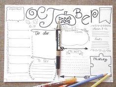 october bullet journal monthly journaling printable planner