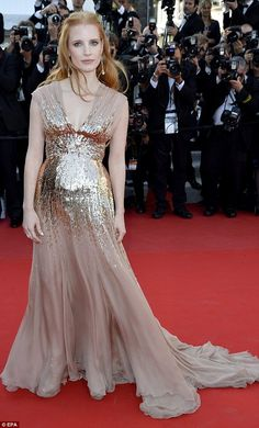 Golden girl: Jessica Chastain looks breathtaking at the screening for Lawless in Cannes