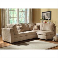 Homelegance Burke 4 Piece Sectional in Brown Beige Chenille - 9709CN-4