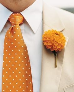 and Orange Wedding Flowers Fun! Dahlia boutonniere and polka dot tie! Dahlia boutonniere and polka dot tie! by Martha Stewart Orange Wedding Flowers, Orange Flowers, Wedding Colors, Orange Weddings, Tangerine Wedding, Marigold Wedding, White Flowers, Beautiful Flowers, Orange Boutonniere