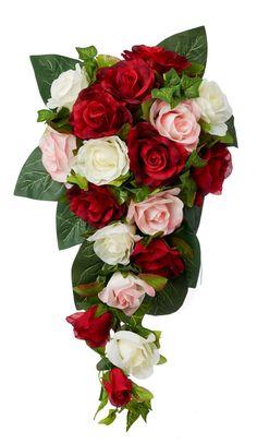 Red, Pink and Ivory Silk Rose Cascade - Silk Bridal Wedding Bouquet - TheBridesBouquet.com