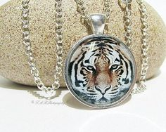 Tiger Necklace, Tiger Glass Tile Necklace, Glass Jewelry by LMRPhotography, $17.00 USD