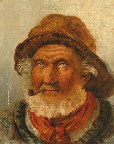 Old Fisherman with a White Beard Smoking a Pipe - unknown artist  early 1900s - Hastings Fishermen's Museum