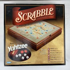 Scrabble & Yahtzee Plus 6 Classic Games in Wood Cabinet Parker Bros Unused #ParkerBrothers Wonderful Things, Fun Things, Cool Things To Buy, Games W, Board Games, Yahtzee Game, Cribbage Board, Solid Wood Cabinets, Game Title
