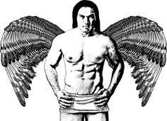 Native American Indian Angel man printable art Image Download graphics clipart png clip art Digital stamp fantasy art drawing black & white