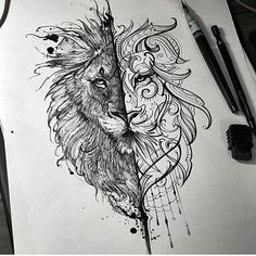Lion line drawing/tattoo design – The Mad Theory – Illustrations ( Lion Strichzeichnung / Tattoo Design – The Mad. Boho Tattoos, Trendy Tattoos, Body Art Tattoos, Small Tattoos, Sleeve Tattoos, Unique Tattoos, Mini Tattoos, Tribal Lion Tattoo, Lion Tattoo Design