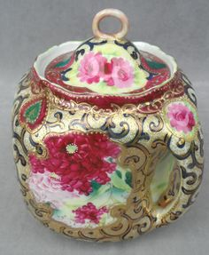 Nippon Moriage Biscuit Cracker Double Handled Lidded Jar Heavy Gold Paint | eBay