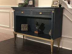 Annie Sloan Chalk Paint - Napoleonic Blue and Black Wax, accents in Gold Gilding Wax