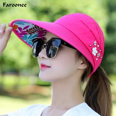 Cheap beach sun hats, Buy Quality sun hat directly from China sun hat women Suppliers: BHESD 2017 Wide Brim flower Beach Sun Hat Women Foldable Visor Cap Female Anti-UV Protection Hats Casquette Gorras Bones Sun Visor Hat, Visor Cap, Women's Hats, Caps Hats, Summer Hats For Women, Caps For Women, Womens Fashion Casual Summer, Women's Summer Fashion, Hat Patterns