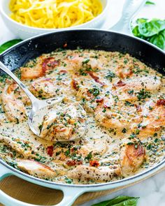 Creamy Tuscan Chicken Healthy Eating Recipes, Healthy Cooking, Cooking Recipes, Tuscan Chicken, Mediterranean Chicken, Italian Dishes, Italian Recipes, Italian Sauces, Jo Cooks